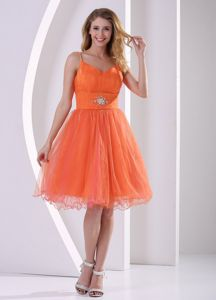 Orange Red Spaghetti Straps Knee-length Graduation Dress for Middle School