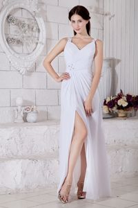 White Empire Straps Floor-length Senior Graduation Dresses with High Slit