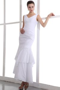 White V-neck Sheath Ankle-length College Graduation Dresses in Mount Airy