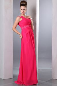 One Shoulder Eighth Grade Graduation Dresses in Coral Red with Beading