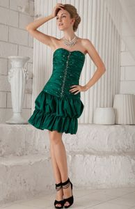 Green Sweetheart Knee-length Evening Dresses for Graduation with Beading