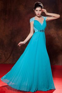 Elegant Pleated V-neck Empire Teal Middle School Graduation Dress in Alma
