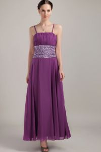Ankle-length Purple Long Graduation Dresses with Beads and Spaghetti Straps