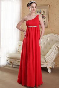 2014 Plus Size One Shoulder Red Maxi Graduation Dresses for College