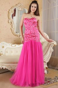 Hot Pink Long Graduation Dresses for 8th Grade with Rhinestones