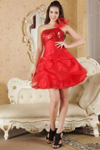 Red Mini Graduation Dresses for Juniors with Paillette and Pick-ups
