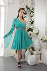 Hot Sale One Shoulder Beaded Turquoise Short Graduation Dress for Grade 8