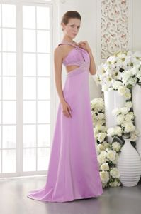 Charming Crisscross Back Lavender Long Graduation Dresses with Beads