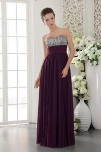 2013 Elegant Beaded Dark Purple Long Graduation Dresses for College