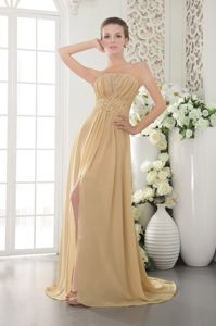 Strapless Slitted Appliqued Gold Graduation Dresses for High School