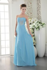Aqua Blue Long Chiffon Senior Graduation Dress with Beads in Pelham AL