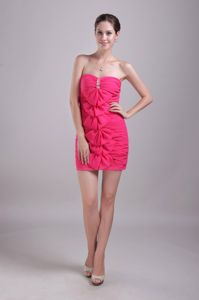 Lovely Chiffon Ruched Hot Pink Mini Graduation Dresses for Grade 8