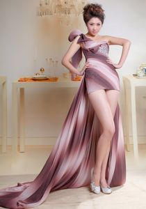 High-low One Shoulder Ombre Color Graduation Dresses with Beading