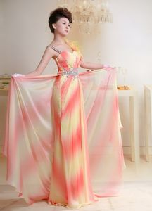 Beaded Ombre Color Long Graduation Dress with Asymmetrical Straps