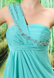 Court Train Turquoise One Shoulder Prom Dress for Graduation with Beads