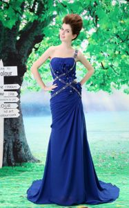 One Shoulder Beaded Peacock Blue Graduation Dress with Flowers Court Train