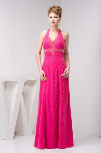 Halter Backless Beaded Hot Pink Long Graduation Dresses for College