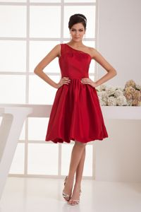 One Shoulder Wine Red Knee-length Graduation Ceremony Dress under 100