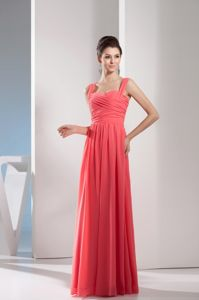 Floor-length Straps Watermelon Graduation Dresses for Juniors in Gadsden USA