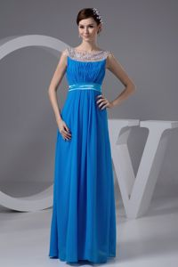 Side Zipper Long Blue Graduation Dresses with Sheer Beaded Scoop Neck