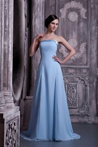 Lace-up Brush Train Light Blue Chiffon Graduation Dresses for College