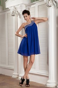 Loose Mini-length One Shoulder Peacock Blue Graduation Dress with Beads