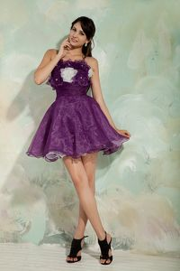 Pretty Organza Mini-length Purple Graduation Dress for Grade 8 with Flowers