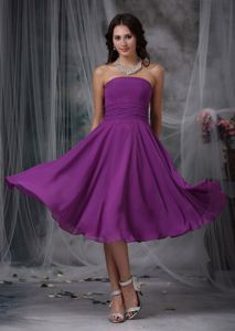 Strapless Purple Chiffon Tea-length 8th Grade Graduation Dress Simple Style