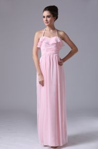 Pretty Halter Baby Pink Chiffon Long Graduation Dress for 8th Grade