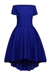 Stunning Blue Short Sleeves Tea Length Ruching Side Zipper Teens Party Dress