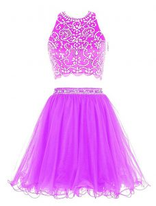 Sweet Scoop Sleeveless Sweet 16 Quinceanera Dress Mini Length Beading Purple Chiffon