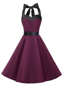 Dark Purple Halter Top Zipper Sashes ribbons 15th Birthday Dress Sleeveless