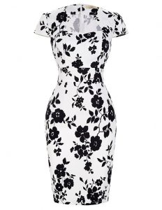 Beauteous Chiffon High-neck Short Sleeves Zipper Pattern and Belt Sweet 16 Dresses in White And Black