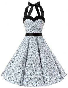 Simple Chiffon Halter Top Sleeveless Zipper Sashes ribbons and Pattern 15 Quinceanera Dress in White And Black