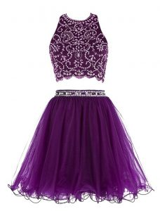 Scoop Mini Length Clasp Handle Sweet 16 Dress Purple for Prom and Party with Beading