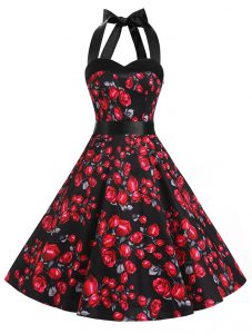 Red And Black Chiffon Zipper Halter Top Sleeveless Knee Length Quince Ball Gowns Sashes ribbons and Pattern
