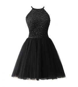 Sophisticated A-line Quince Ball Gowns Black Scoop Chiffon Sleeveless Knee Length Zipper