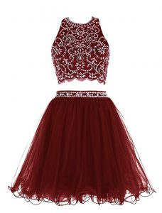 Exceptional Scoop Burgundy Empire Beading Sweet 16 Quinceanera Dress Clasp Handle Chiffon Sleeveless Mini Length