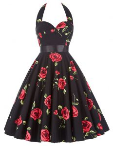 Flare Halter Top Sleeveless Zipper Knee Length Sashes ribbons and Pattern 15 Quinceanera Dress