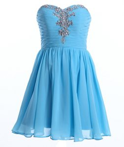 Luxurious Beading Quinceanera Dresses Baby Blue Lace Up Sleeveless Mini Length