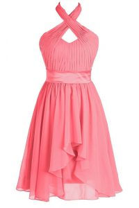 Top Selling Watermelon Red Empire Halter Top Sleeveless Organza Tea Length Backless Ruching and Belt Teens Party Dress