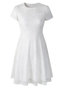 Scoop Short Sleeves Lace Side Zipper Quince Ball Gowns