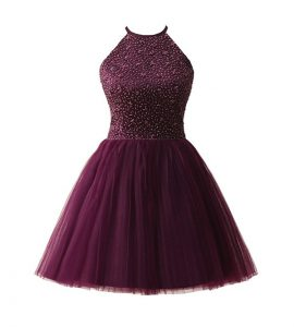 Scoop Dark Purple Sleeveless Knee Length Beading Zipper Vestidos de Quinceanera