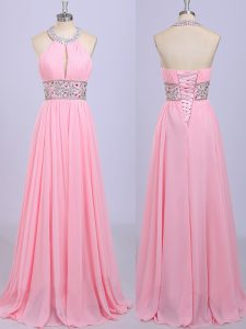 Exceptional Floor Length Rose Pink Vestidos de Quinceanera Halter Top Sleeveless Zipper