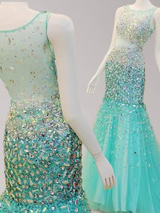 Inexpensive Mermaid Turquoise Side Zipper Scoop Beading 15 Quinceanera Dress Tulle Sleeveless Brush Train