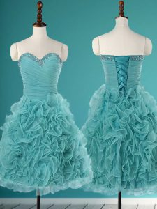 Delicate Sweetheart Sleeveless Organza Quinceanera Dress Beading and Ruffles Lace Up