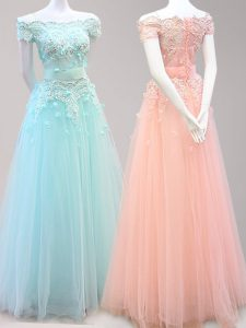 Light Blue and Peach Off The Shoulder Zipper Beading and Appliques 15th Birthday Dress Cap Sleeves