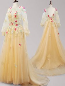 Scoop Gold Backless Quince Ball Gowns Appliques Long Sleeves Brush Train