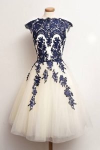 Glorious Scalloped Blue And White Tulle Zipper Quince Ball Gowns Cap Sleeves Knee Length Appliques