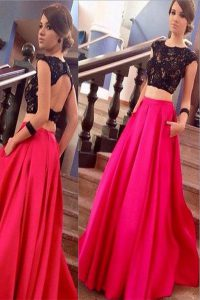 Modern Scoop Pink And Black A-line Lace 15th Birthday Dress Backless Satin Short Sleeves